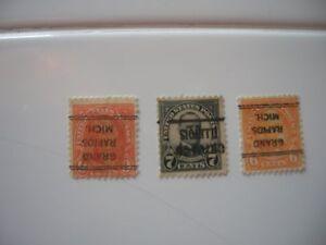 US Stamps - INVERTED PRECANCELS SCOTT'S #559 #638 #641 MCKINNLEY GARFIELD JEFFER