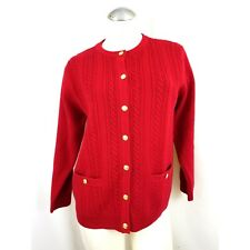 Talbots Size SP Red Cardigan Sweater S Petite 100% Wool