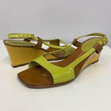 Louis Vuitton Patent Leather Shoes Wedge Kiwi Green Mustard Yellow 35 1/2