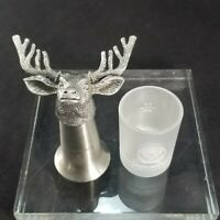 Jagermeister 10-Point Pewter Stainless BuckHead & Frosted Shot Glasses Barware