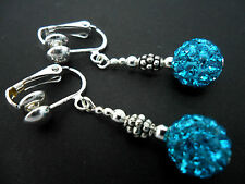 A PAIR OF DANGLY BLUE SHAMBALLA STYLE   CLIP ON   EARRINGS.