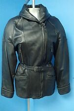 02484 Black Genuine Leather Motorcycle Style Women's Coat Jacket