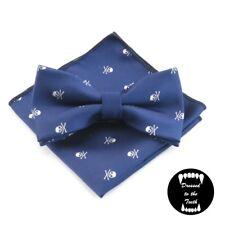 Blue White Skull Print Bow Tie Pocket Square Reverse Matching Set Formal Wedding