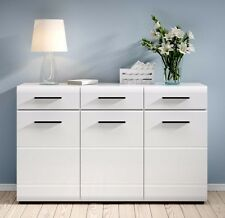 WHITE GLOSS Doors Wide Sideboard Cabinet Drawers Unit Black accents Fever NEW