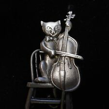 JJ PEWTER PIN BEAUTIFUL *** CAT AND THE FIDDLE *** SIGNED JJ