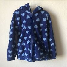 Hanna Andersson Girls Size 120 ( 6-7 yrs) Blue Hearts Marshmallow Zip Up Hoodie