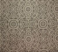 Mocha and Tan Floral Damask Scroll Upholstery Drapery Fabric By The Yard