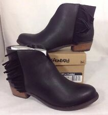 NEW DIRTY LAUNDRY Ankle Boots Size 7 1/2 Fringe Heels Black Faux Leather Shoes