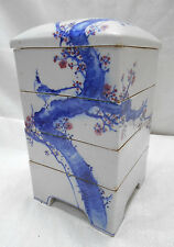 SALE-Antique Japanese Ceramic Jubako Bento Box Food Lunch 4 Tiered Blossom Bird