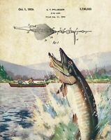 Fishing Lure Patent Print Vintage Muskie Fish Club Cabin Wall Art Decor Gift