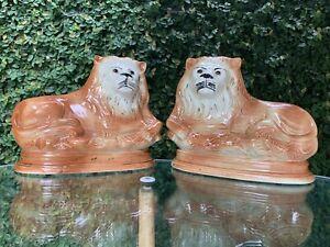 Antique Large English Staffordshire Ceramic Porcelain Lion Lions Pair