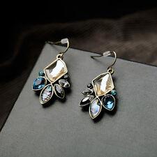 Boucles d`Oreilles Coquille Art Deco Bleu Noir Original Soirée Mariage CC 5