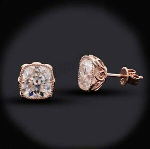 10K Solid Rose Gold 1.52Ct Old Mine Cut Cushion Moissanite Art Deco Stud Earring