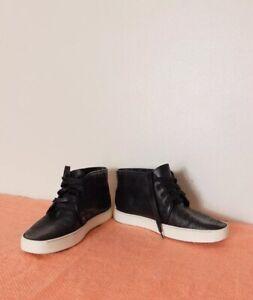 Rag And Bone Black Perforated Leather Hi Top Trainers Sneakers EU 38 (UK 5)