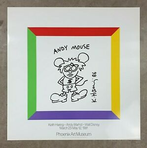 KEITH HARING 'Andy Warhol Mouse' 1991 Vintage Art Exhibition Poster 21 x 21 NEW*