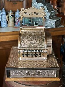 Antique National Cash Register 52 ¼  w/ Original Top Sign
