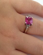 Estate 14K White Gold Checkerboard Princess Pink Tourmaline Diamond Ring Size 5