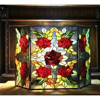 Stained Glass Tiffany Style Fireplace Screen 3 Section Floral     ONE THIS PRICE