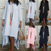 UK Women Cotton Long Sleeve Mini Shirt Dress Collared Irregular Hem Tunic Kaftan