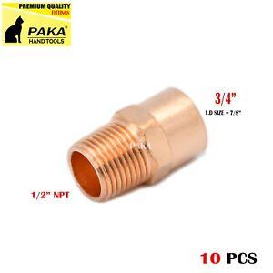 "3/4"" C x 1/2"" Male NPT Threaded Copper Adapters ( 10 PCS )"