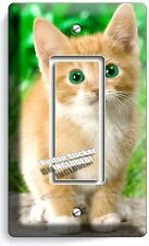 CUTE GREEN EYES KITTEN KITTY CAT SINGLE GFI LIGHT SWITCH WALL PLATE COVER DECOR