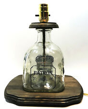 PATRON SILVER TEQUILA Large 1.75 Liquor Bottle TABLE LAMP Light with Wood Base