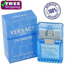 100% Original Versace Man Cologne Blue Men Perfume Eau Fraiche EDT 0.17 oz 5 ml