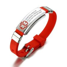 Medical Alert Id Bracelet Stainless Steel Silicone Adjustable Jewelry 5 Color
