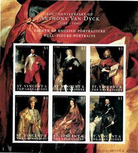 St. Vincent 2000 - SC# 2765 Van Dyck Portrait Paintings, Art - Sheet of 6 - MNH