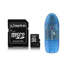 Kingston 8GB Micro SD SDHC MicroSDHC Flash Memory Card Class 4 + Reader