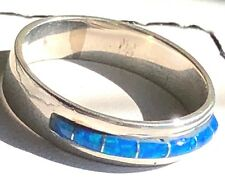 Thinner Channel Set Blue Opal Ring Sterling Silver 925 Size 12 Kingsman
