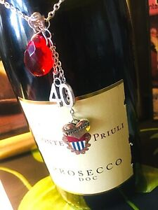 Ruby crystal love heart 40TH ANNIVERSARY WINE CHAMPAGNE BOTTLE CHARM gift IDEA