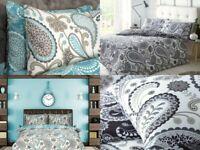 Sleepdown PAISLEY Polycotton Reversible Duvet Cover Set with Pillowcases