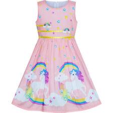 US STOCK! Girls Dress Light Pink Unicorn Rainbow Summer Sundress Size 4-12