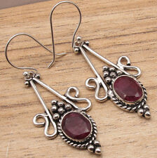 Inches, 925 Silver Plated Jewelry Red Simulated Ruby Gemstone Earrings 2