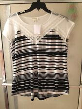 NWT Faith & Joy Black & White Blouse Sz 2X; Short Sleeves; Lace in the Front $30