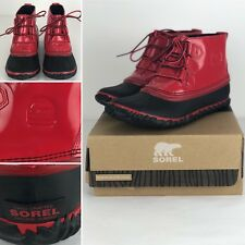 Sorel Womens Out N About Rain Boots 1735301 Burnt Henna/Black Size 7.5
