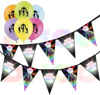Let's Boogie Disco Bunting 15 flags & Pack of 5  Printed Latex Asst Balloons