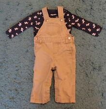 Baby Boys Early Days Primark Doggy Top & Tan Dungarees Set Size 6-9 Months Cute
