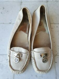 Michael Kors Women's Leather Shoes Flats Silver Luggage  Size 9 M