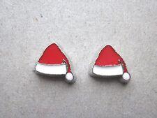Earrings Mini Stud Santa Hats/White Fur Trim  And Bobble/Novelty/Floating charm