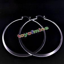 925 Sterling Silver Large Hoop Earrings Fashion Bling Flat U-shaped Earring Hot