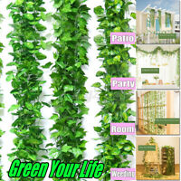 1-12Pcs Artificial Ivy Leaf Garland Green Plant Vine Foliage Flowers Home