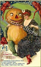 Fabric Block Vintage Halloween Pretty Witch Pumpkin Postcard Image on Fabric