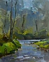 Impressionist Original Oil Painting Landscape Creek Plein Air 9x12 Pam Adams
