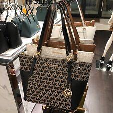 Michael Kors Bedford large Leather Handbag Bag Shoulder Tote Beige/Black
