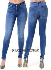 Ladies Ex Famous Make Slim Fit Mid Wash Stretch Fitted Lee Blue Jeans Sizes 6-16