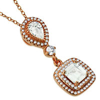 925 Sterling Silver Rose Gold-Tone Square Teardrop CZ Pendant Necklace, 18""