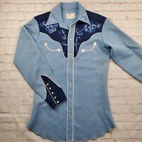 H Bar C Vintage Western Embroidered Pearl Snap Shirt Mens 14 1/2Cowboy