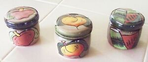 New Mexican Pottery 3 Assorted Hand Painted Round Trinket Box / Candle Holder F